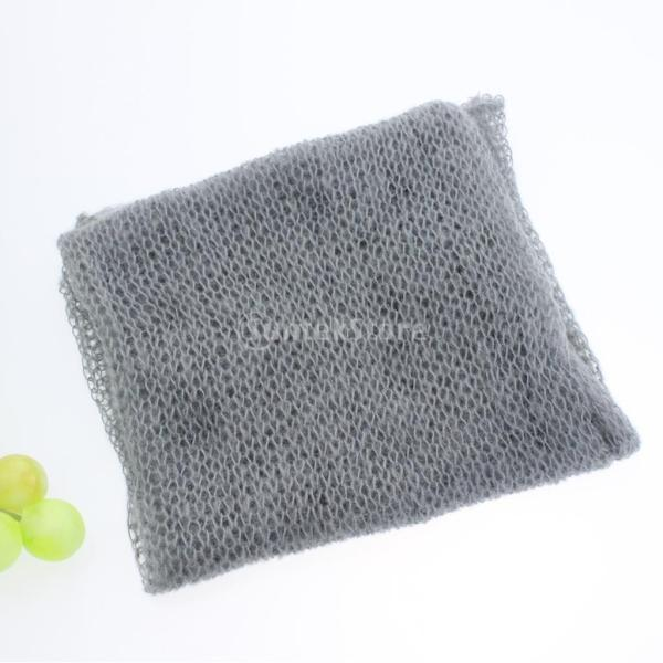 Lovoski 赤ちゃん モヘア かぎ針編み ラップ おくるみ 毛布 出産お祝い ベビーシャワー 写真記念 道具 全6色 - グレー