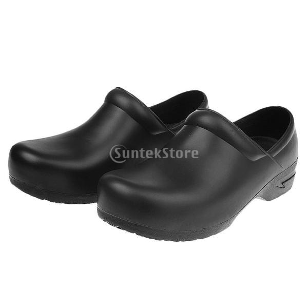 男女兼用 料理人 シェフ コック 作業靴 滑り止め 防油 防水 レインシューズ 全2色5サイズ - ブラック, 38