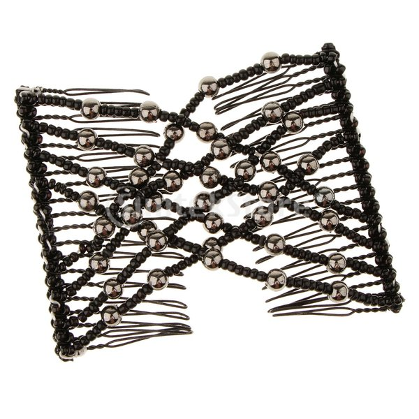 IPOTCH クリップ ヘアコーム 髪の櫛 ヘアアレンジ 髪型作り ファッションのビーズ ブラック