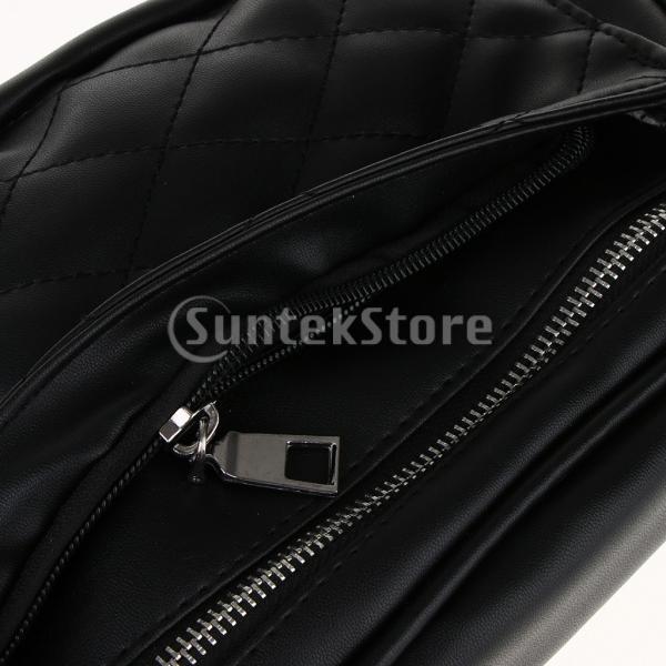 IPOTCH 自転車 バイク ウエストバッグ ポーチ 財布 男女用 PUレザー 調節可能 ブラック 全2タイプ - #1