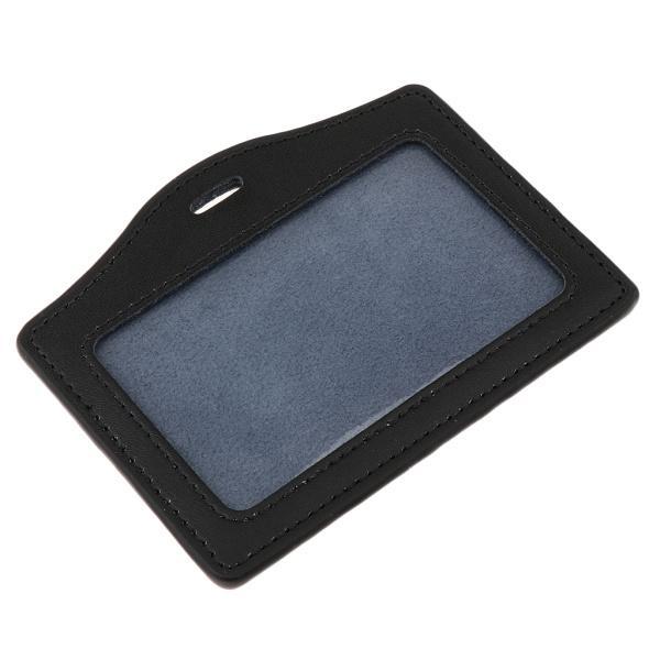 横縦レザーネームタグIDバッジホルダーストラップマルチサイズ - ブラック 水平