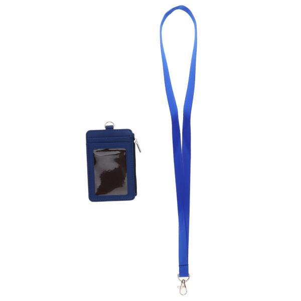 ジップネックストラップ財布ケースブルーと両面PUレザーカードバッジホルダー