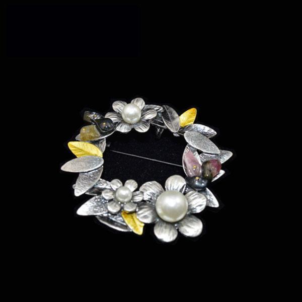 ノーブランド品 ヴィンテージ 女性 ブローチ ピン スカーフ リング クリップ 花輪