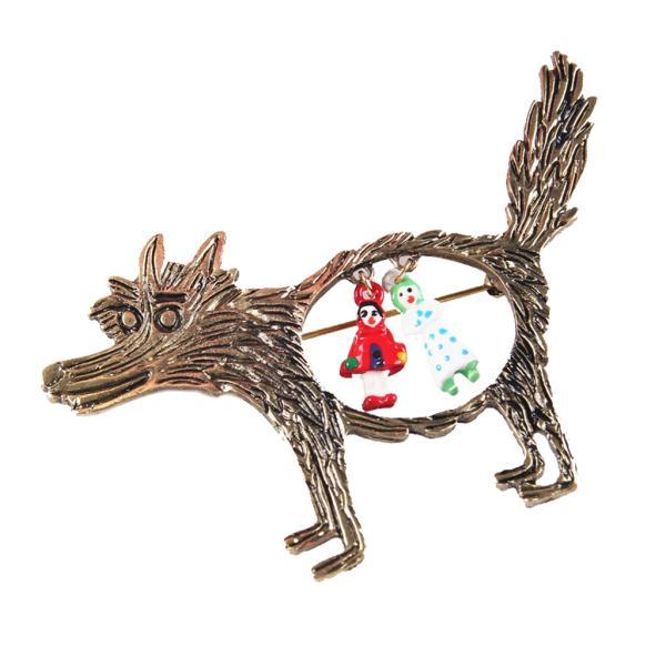 ノーブランド品 ファンキーな 赤ずきん オオカミのテーマ パーティーのブローチピン|stk-shop