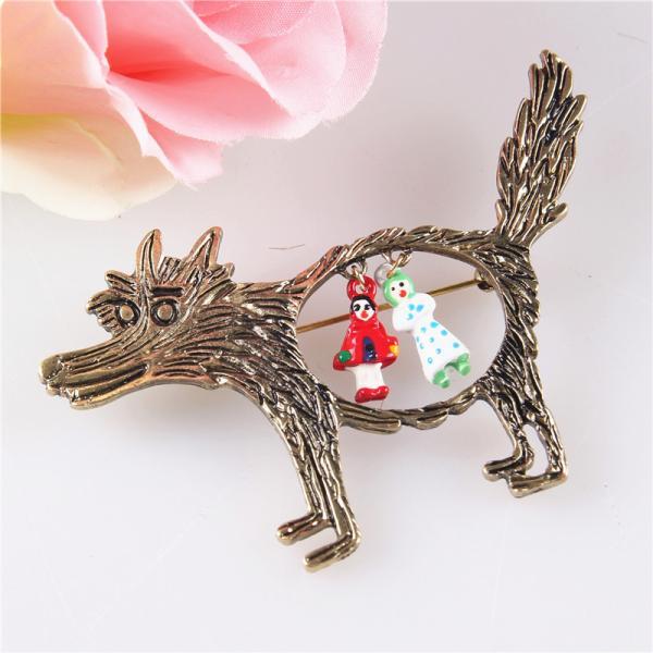ノーブランド品 ファンキーな 赤ずきん オオカミのテーマ パーティーのブローチピン|stk-shop|02