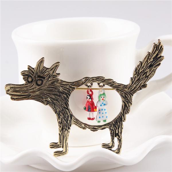 ノーブランド品 ファンキーな 赤ずきん オオカミのテーマ パーティーのブローチピン|stk-shop|04