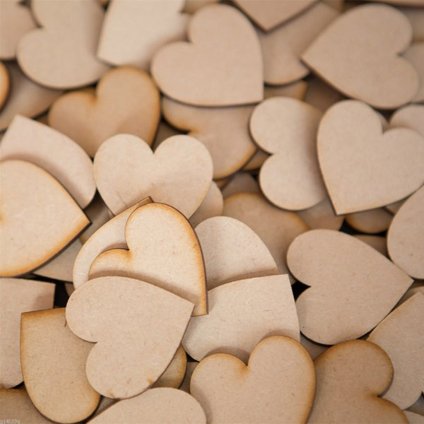 SONONIA 50pcs 素朴 結婚式 装飾 2cm 木製 クラフト パーティー 撮影用 工芸品 DIY カード作り ハート