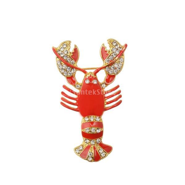 ブローチ 赤 亜鉛合金 金色 ザリガニデザイン ブライダル  ブローチピン ジュエリー