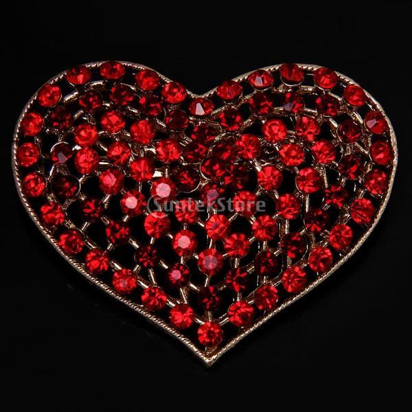 ノーブランド品 ゴージャスな クリスタル ラインストーン 愛のハート ブローチピン コスチュームジュエリー 赤
