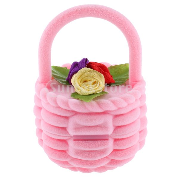 ローズフラワー バスケット リング ピアス 耳のスタッド ジュエリーボックス ギフトケース ピンク