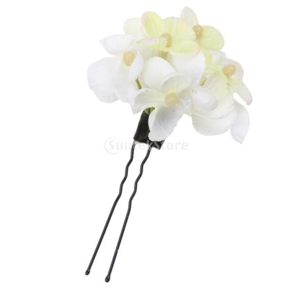 ノーブランド品 ブライダル 花 U-形状 ヘアピン クリップ ガール ウエディングアクセサリー ベージュ 6個