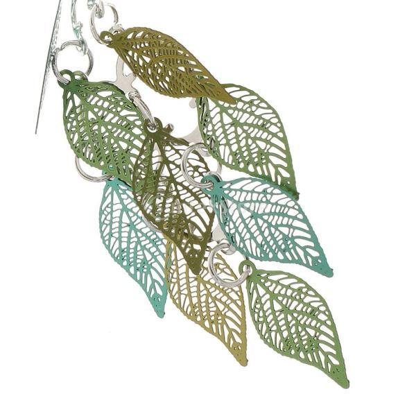 Dovewill 女性 フアション ドロップ 葉のデザイン ブラブラ ピアス フック 魅力 耳 宝石 贈り物 アクセサリー グリーン