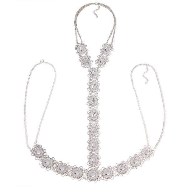 ノーブランド品 ファッション 水晶 ロング ボディのチェーン  女性 シルバー ネックレス