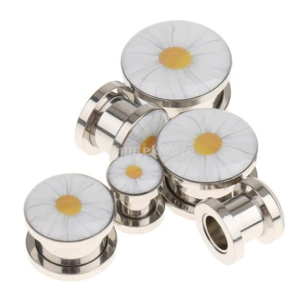 6種選択可 6〜16ミリメートル チャーム 耳トンネル プラグ 拡張 アクリル ジュエリー ボディジュエリー 耳ストレッチャー  - 銀