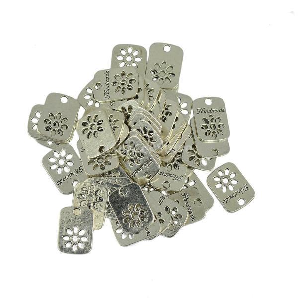 ノーブランド品 50pcs 手作り 中空 デイジーの花 矩形 ラベル DIY 魅力のペンダント