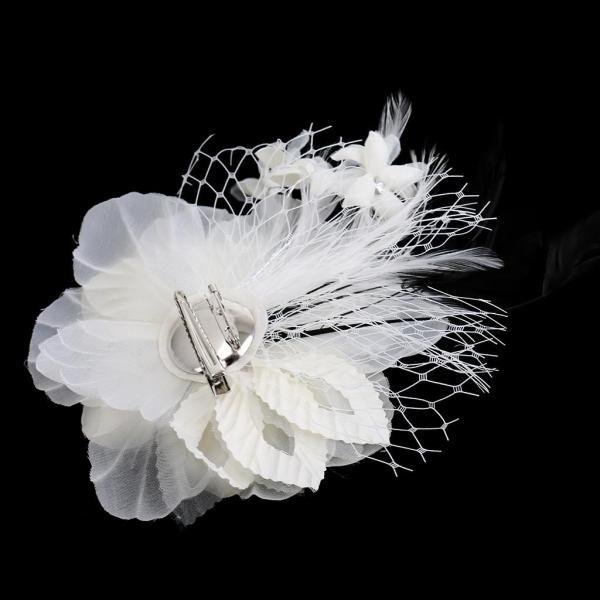 全4色 多目的 おしゃれ フォーマル コサージュ 巻き バラ  服の装飾 帽子の飾り 造花 入学式 卒業式 結婚式 - 白