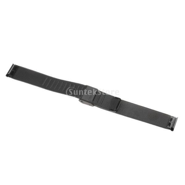 Fenteer ステンレス スチール 時計バンド ウォッチ メッシュ 交換バンド 調節可能 全13パターン  - ブラック16mm