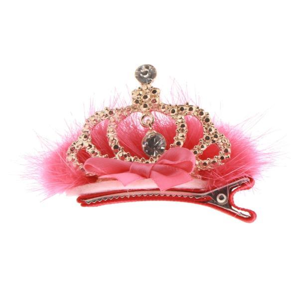 Fenteer 子供 女の子 髪 クリップ 王冠 アクセサリー かわいい 全3色 - 赤