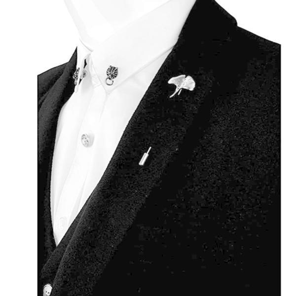 Sharplace ヴィンテージ イチョウの葉 ブローチ スティックピン 帽子 スカーフ バッジ 全2色 - シルバー