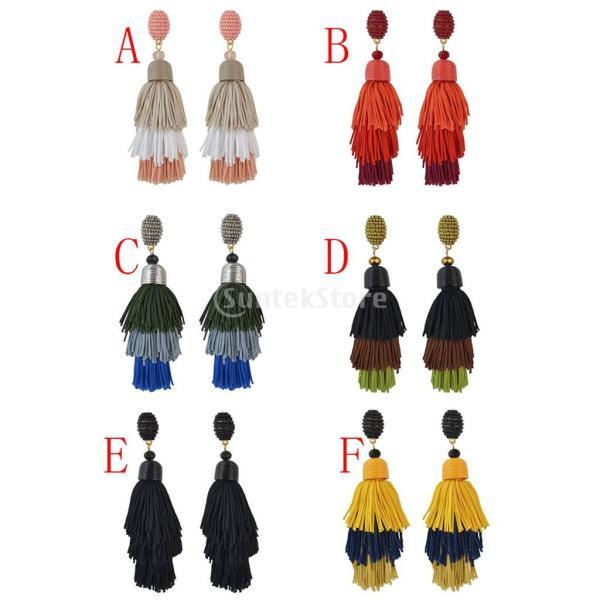 Baoblaze 全6色 女性 ピアス タッセル 糸 ぶら下げ 優雅 人気 ギフト  - レッド
