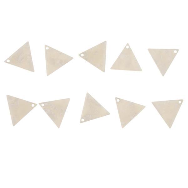 10個セット 三角形 チャーム アクセサリー ハンドメイド素材 キルティング デコ ネックレス イヤリング ハンドメイド材料 全8色 - ホワイト