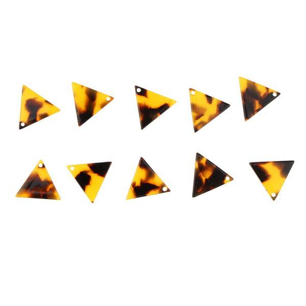 10個セット 三角形 チャーム アクセサリー ハンドメイド素材 キルティング デコ ネックレス イヤリング ハンドメイド材料 全8色 - ブラウン
