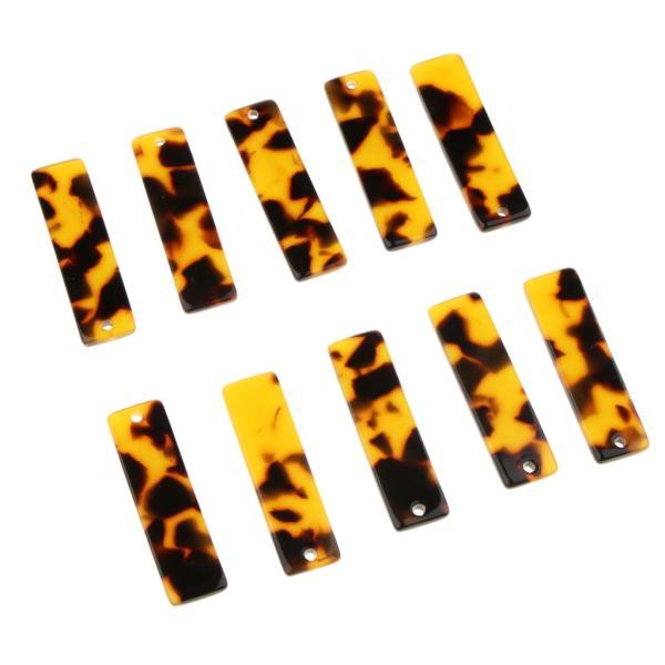 10個 長方形 チャーム ハンドメイド素材 キルティング デコ ピアス ネックレス イヤリング ハンドメイド素材 全7色 - ブラウン