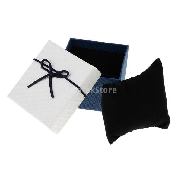 FLAMEER 5個セット リボン付 正方形 ジュエリー ボックス ピアス用ケース ギフトボックス 多用紙箱  全6種類 - ホワイトブルー