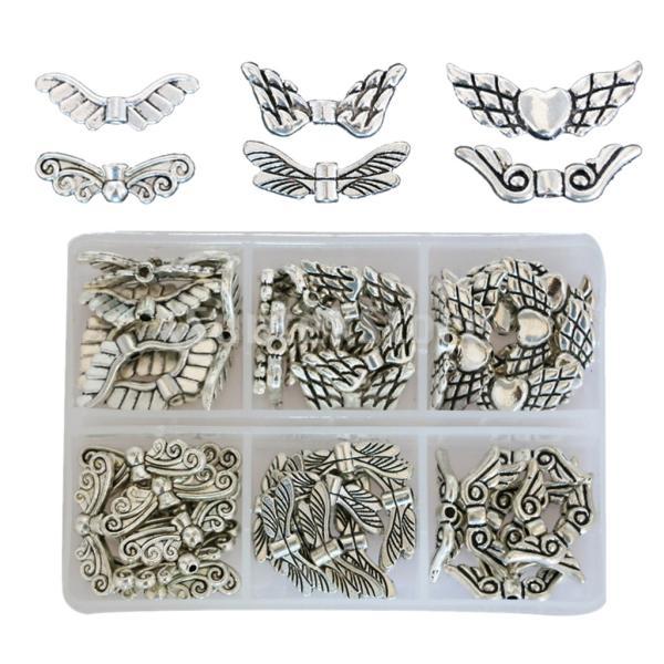 IPOTCH 天使の羽 ジュエリー チャーム ビーズ 6種 金属 パーツ ブレスレット 手作り素材 全60個