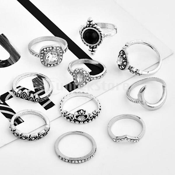 10本/セットファッションボヘミアンゴシックヴィンテージ女性クリスタル指輪セット