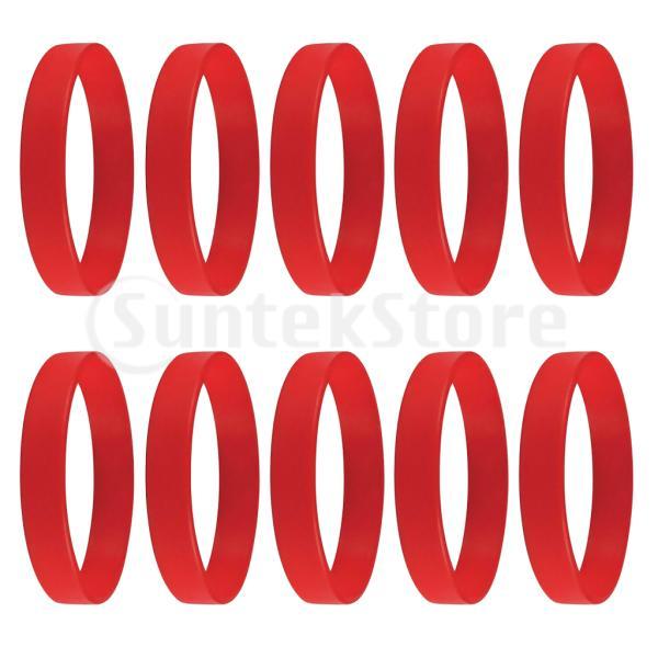 10個/パック空白のシリコンリストバンドファッションラバーブレスレットレッド