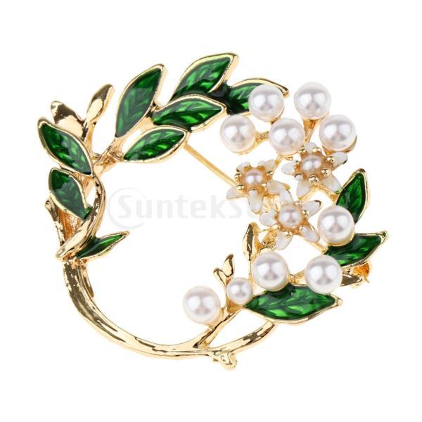 女性合金エナメルクチナシの花ブローチラペルピンの襟のヒントジュエリー