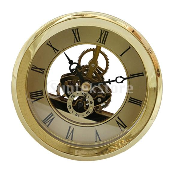 103mm / 4.06インチダイヤルローマ数字時計クォーツ時計インサート付きゴールドトリム