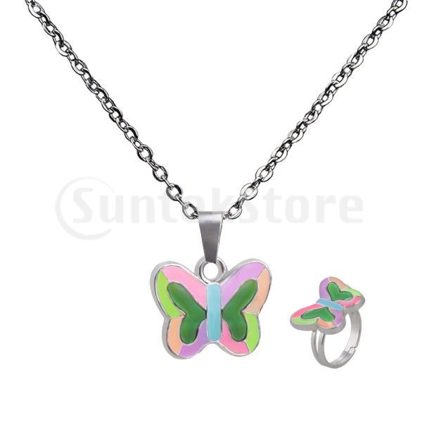 かわいい蝶ペンダントネックレスリングセット.気分を感じる敏感な色変化ネックレスジュエリーセット