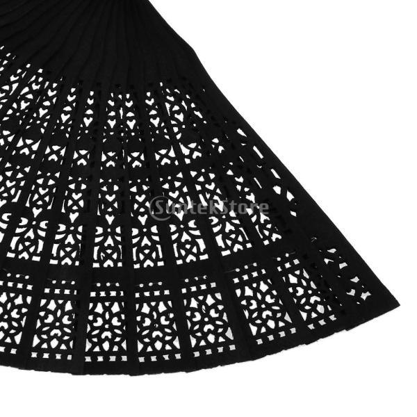 Dovewill ハンドファン 扇子 折り畳み式 彫刻 ヴィンテージ プレゼント 結婚式 装飾 和装小物 全7色選ぶ - 黒