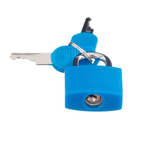 旅行用ロック パッドロック 南京錠 小型 鍵2本付 青
