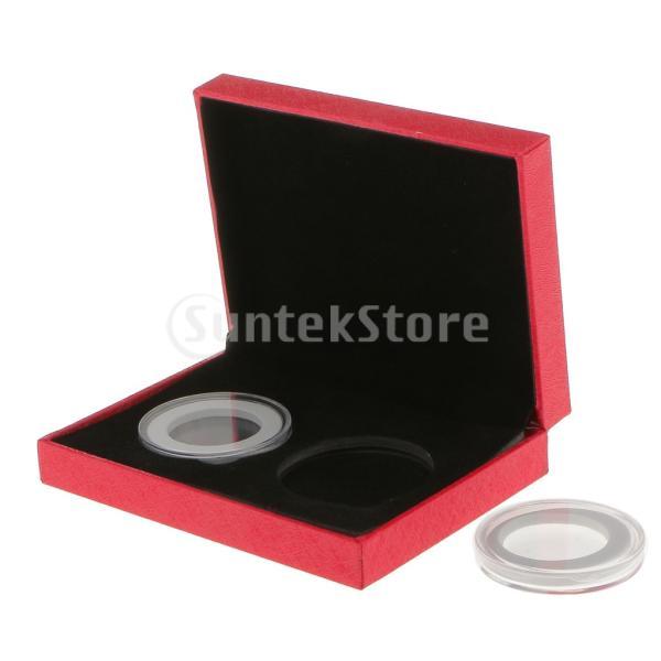 ノーブランド品 記念コイン ギフト ボックス ファンシー ダブル コインホルダー ギフト 全2色2サイズ (40mm, レッド)|stk-shop|04
