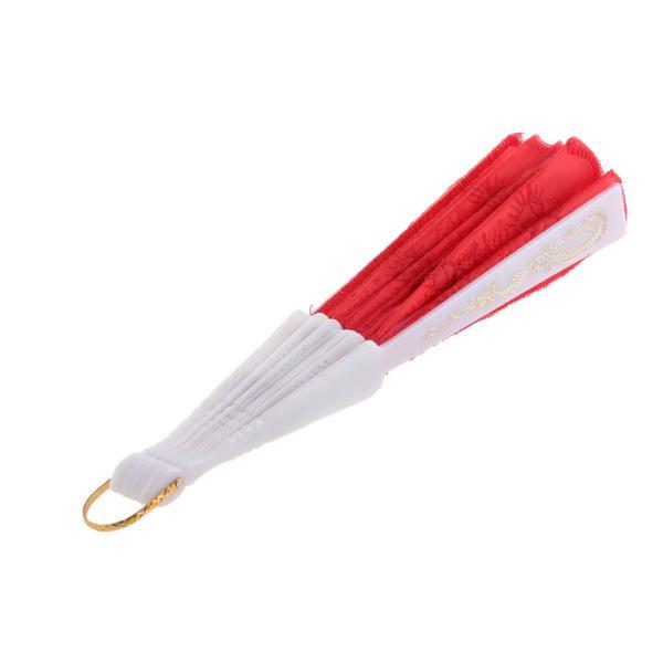 ノーブランド品  全9色選べる 折りたたみ式 ハンドファン 扇子 踊り 練習用品  - 赤
