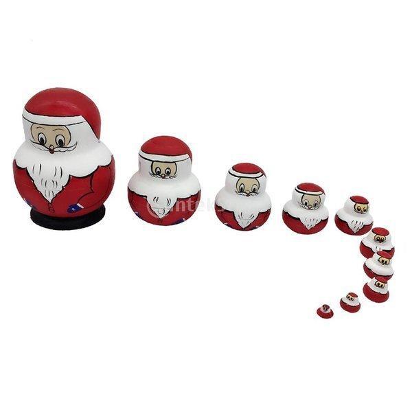 SONONIA  10個入り 木製 ロシアマトリョーシカ サンタ 子供 クリスマスプレゼント レッド
