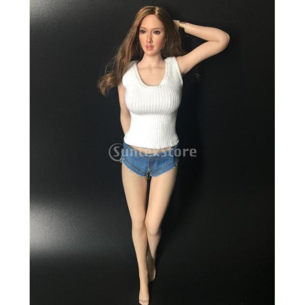 女性用 1/6スケール デニムショーツ ニットベスト カジュアル 12インチ アクションフィギュア用 衣類|stk-shop|03