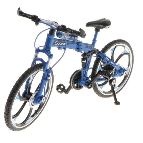 折りたたみ式マウンテンバイク1:10自転車車おもちゃの家の装飾クリスマスギフト - 赤#3 - 青#2