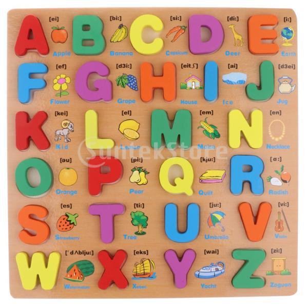 幼児向けの木製大文字ブロックパズル開発玩具