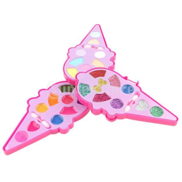 女の子のおもちゃのためのかわいいアイスクリーム形の化粧品プレイセットファッションメイクキット
