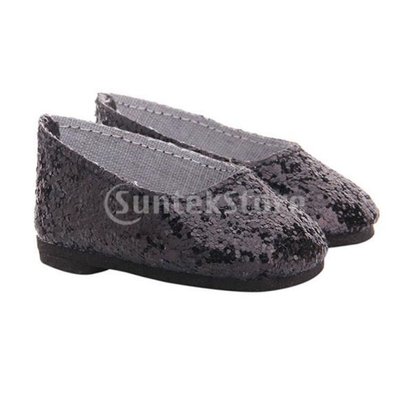 アメリカの女の子のための素敵なスパンコールの靴18インチドールドレスアクセサリーブラック stk-shop 03