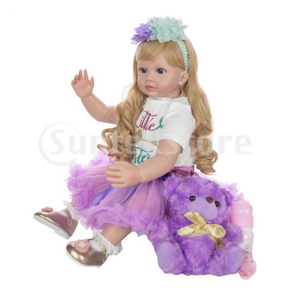 ドール 60センチ フィギュア 女の子 幼児 長い髪 ドレス お洋服セット ぬいぐるみ リアル感 パープル