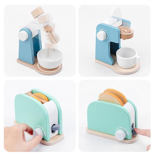 コーヒーメーカー 木製プレイキッチン キッズキッチン用フードセットを再生