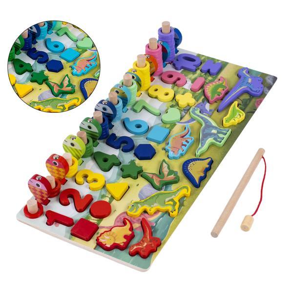 木製ブロックパズルセットカウントナンバー数学形状選別機学習 & 教育玩具の早期教育のおもちゃ