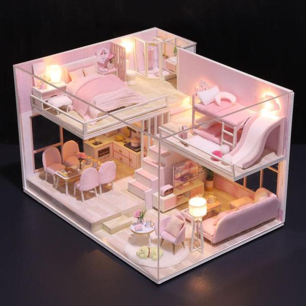 1/12ドールハウスミニチュア寝室居間台所プラス防塵カバー家具ledライト誕生日プレゼント