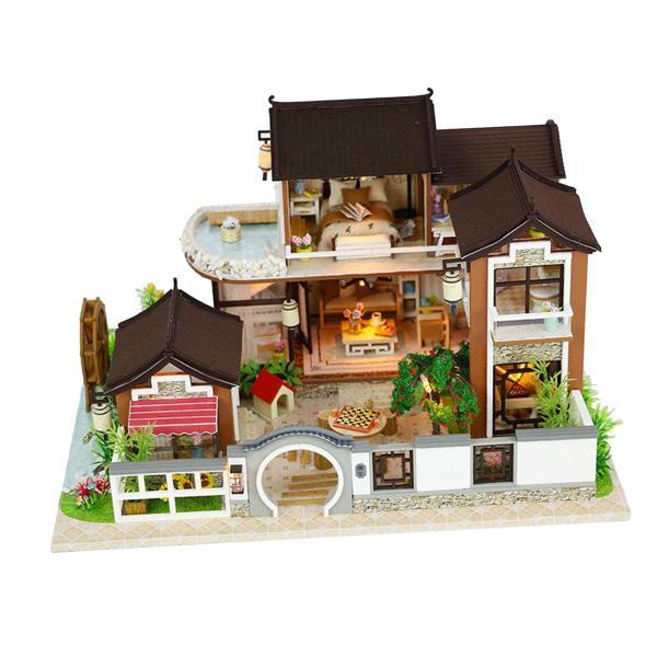 Diyドールハウスミニチュア木製家具キット.ミニホームクラフトモデル中国スタイルledライト.1:24ドールハウスのおもちゃティーン大人のギフト