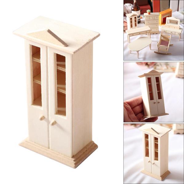 木製ドールハウス家具セットデコレーション1/12スケールおもちゃ食器棚